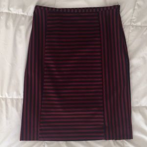 Merona Red and Navy Striped Pencil Skirt